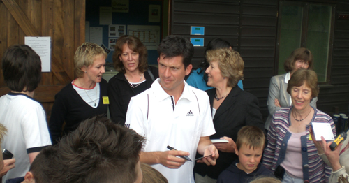 Tim Henman opening Odiham Tennis Club's new courts