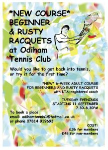 Poster for new rusty racquets course